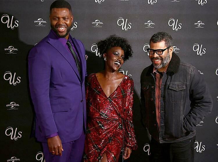 Từ trái qua: diễn viên Winston Duke, Lupita Nyongovà đạo diễn Jordan Peele tại buổi ra mắt Us.