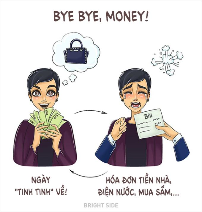 <p> Tiền vừa về tay, lại bay đi mất.</p>