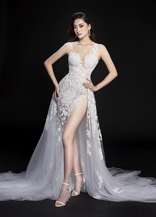 Một trong hai bộ dạ hội Hoa hậu Lương Thùy Linh sẽ lựa chọn mặc trong đêm chung kết.