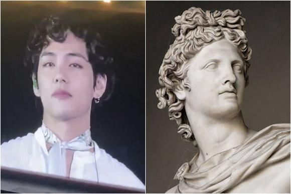 Cũng có nhiều ý kiến cho rằng mái tóc của V giống một bức tượng Hy Lạp cổ.