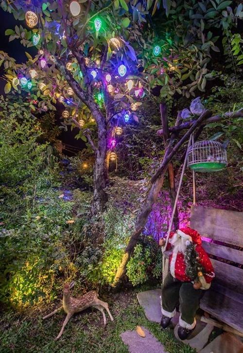 Mỗi năm, Đàm Vĩnh Hưng trang trí biệt thự theo phong cách khác nhau. Dịp Noel năm nay, anh bày trí ngôi nhà theo bốn gam màu chủ đạo là trắng, vàng, đỏ và xanh.