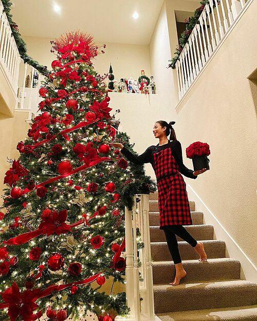 Ở chân cầu thang dẫn lên tầng hai, Phạm Hương đặt cây thông cỡ lớn. Trên cây thông, cô gắn đèn vàng, hoa, ruy băng để trang trí.