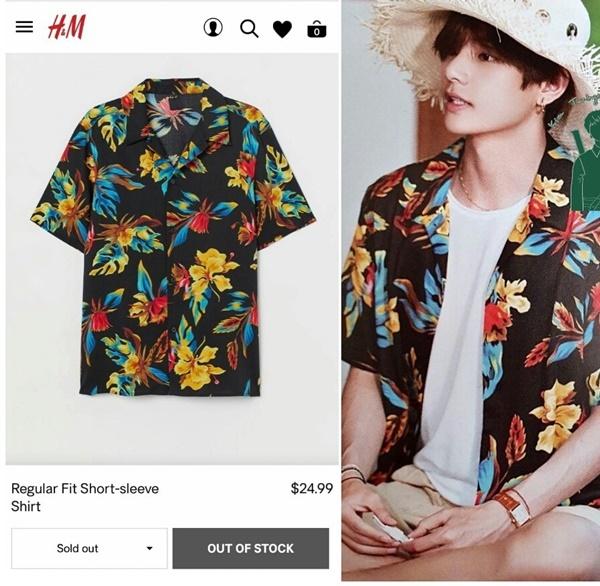 Chiếc áo phông V mặc trong 2019 Summer Package cũng trong tình trạng tương tự.