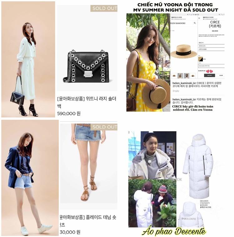 Yoona là idol nữ thế hệ hai hiếm hoi có khả năng sold-out các mặt hàng từ bình dân đến cao cấp, từ đồ gia dụng đến thời trang, từ đồ ăn đến phụ kiện. Ảnh: Yoonavn.