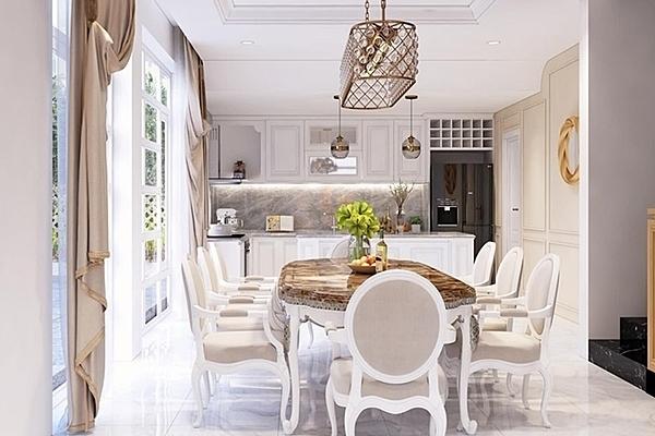 Trịnh Kim Chi được chồng tặng biệt thự hơn 200 m2 nhân dịp chào đón tuổi 47. Căn nhà ở quận 7, TP HCM gần trường học của hai con gái cô.