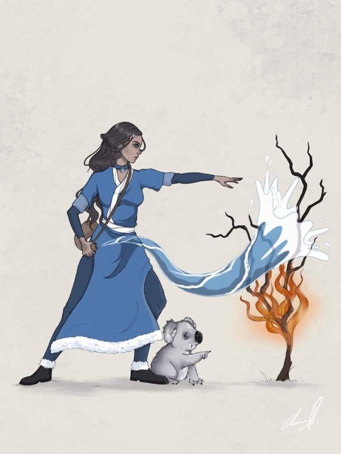 <p> Nữ thần nước được vẽ với hy vọng dập lửa.</p>