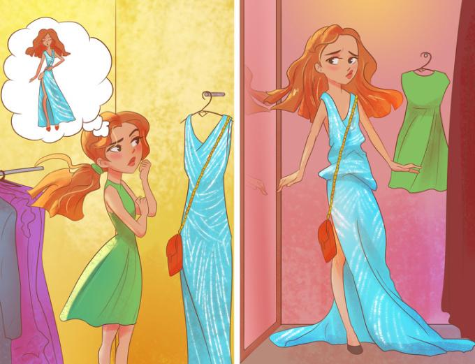 <p> Tưởng tượng và thực tế khi các cô nàng nấm lùn đi mua sắm quần áo.</p>
