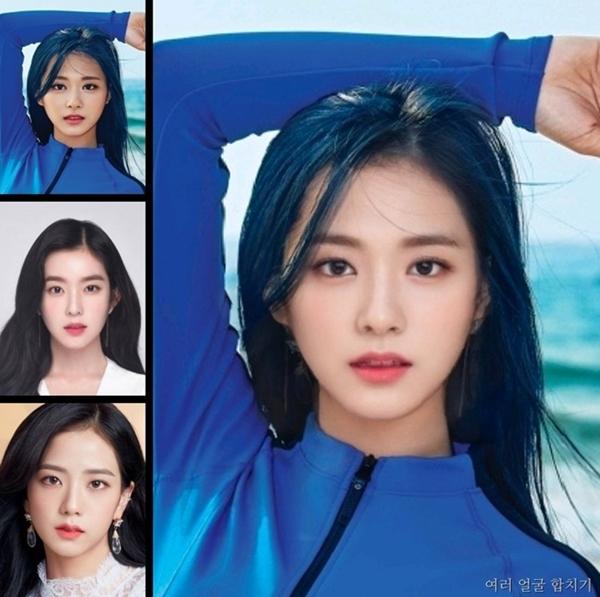 Kết quả khi lồng ghép gương mặt Tzuyu (Twice), Irene (Red Velvet) và Ji Soo (Black Pink).