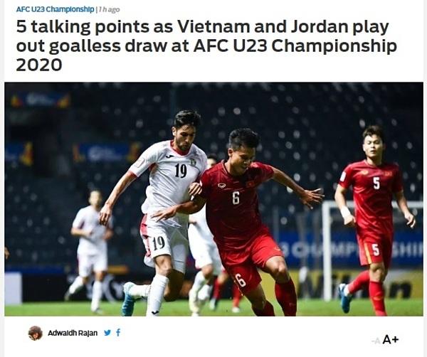 Fox Sports viết về trận Việt Nam hòa Jordan 0-0.