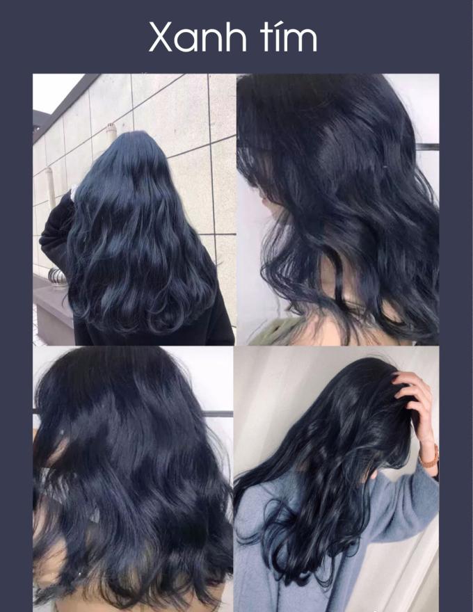 """<p> Gam xanh tím có khả năng """"biến hình"""" kỳ diệu, khi ở trong bóng tối, tóc sẽ khá trầm và hiền. Tuy nhiên dưới ánh sáng, ánh nắng, tóc mới hiện rõ màu """"chất chơi"""", cho các cô gái khoe trọn vẻ cool ngầu.</p>"""