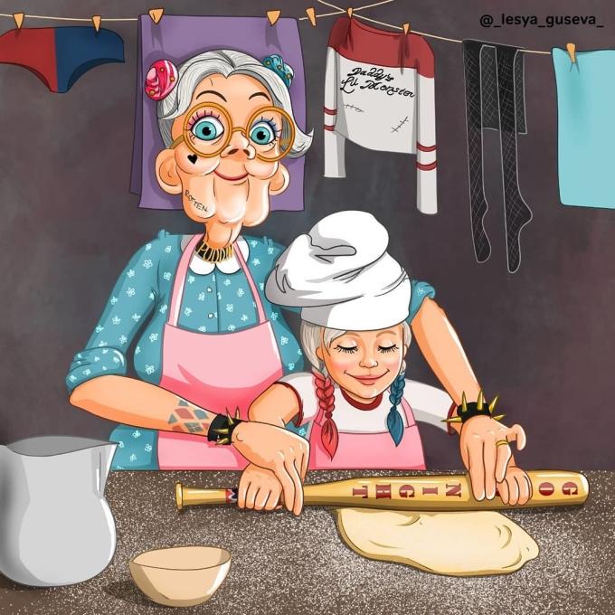<p> Harley Quinn dạy cháu gái cách làm bánh.</p>