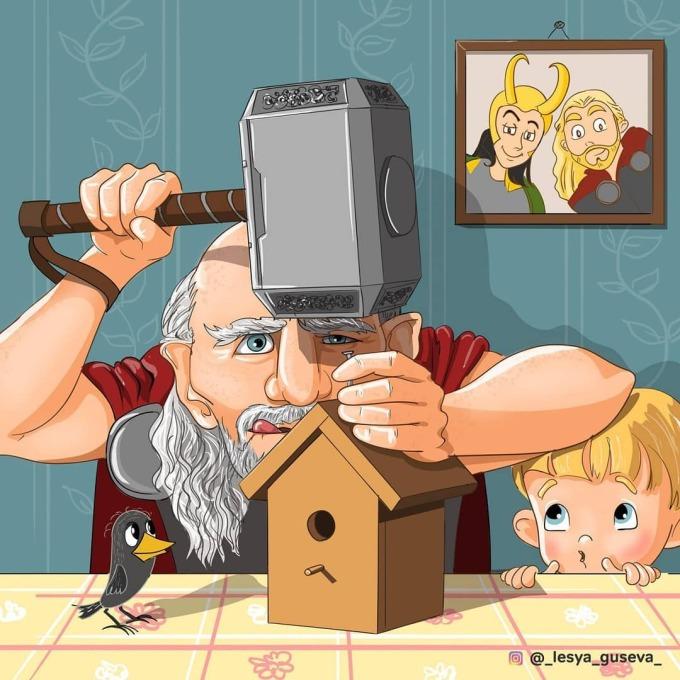 <p> Thor dùng chiếc búa thần Mjolnirn để làm đồ chơi cho cháu trai.</p>