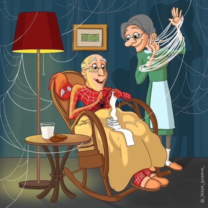 <p> Người nhện dùng tơ đan khăn cho vợ.</p>