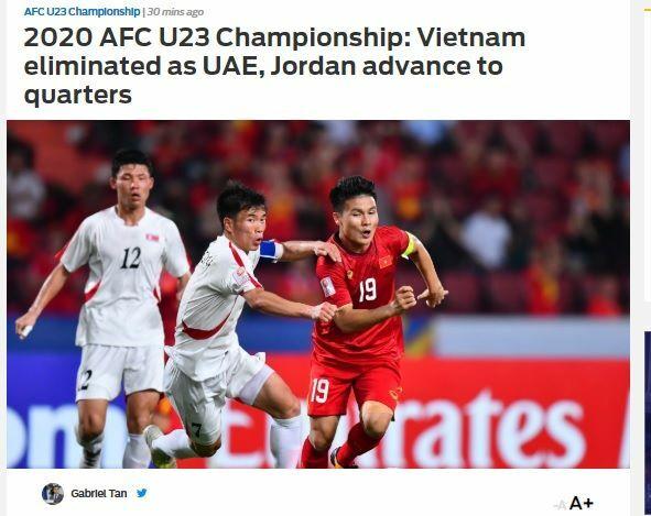 Fox Sports viết về việc Việt Nam bị loại khỏi U23 châu Á 2020.