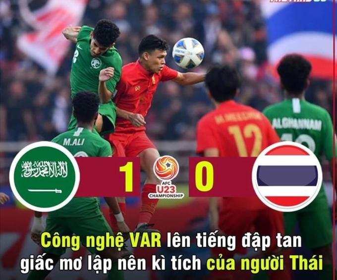 """<p> 17h15 ngày 18/1, Thái Lan gặp Arabia Saudi ở tứ kết U23 châu Á trên sân Thammasat. Ông Nishino tung bộ tứ tấn công Supachok, Suphanat, Supachai, Anon với quyết tâm giành chiến thắng. Nhưng phút 78, VAR xác nhận cầu thủ Thái Lan phạm lỗi, trọng tài Al-Kaf cho Arabia Saudi hưởng đá phạt. Từ cự ly 11m, Al Hamddan sút bóng đập xà dội thẳng vào lưới. Bàn thắng duy nhất của trận đấu đã <a href=""""https://ione.net/tin-tuc/nhip-song/hong/thai-lan-bi-loai-khoi-u23-chau-a-4044098.html"""" rel=""""nofollow"""">phá tan giấc mơ</a> của người Thái khi lần đầu vào đến tứ kết giải đấu này.</p>"""