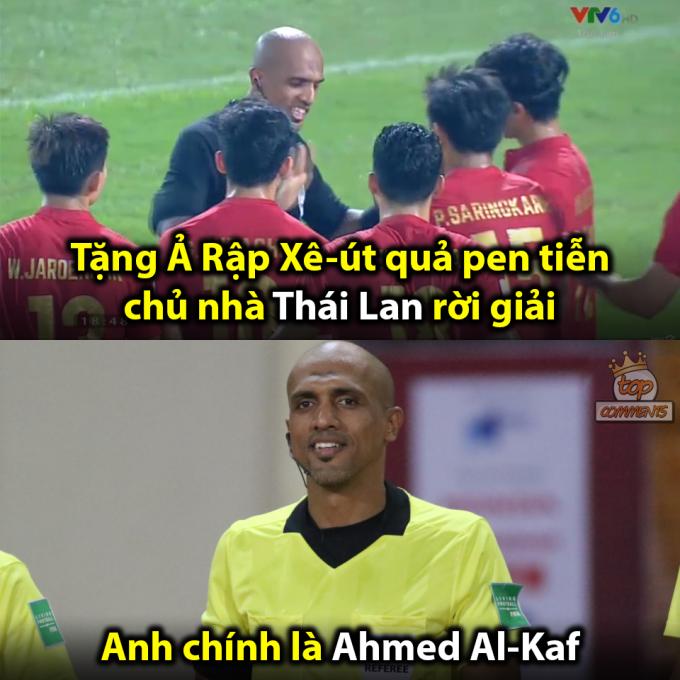 <p> Trọng tài bắt chính trận đấu đã thổi phạt Thái Lan sau khi tham khảo VAR.</p>