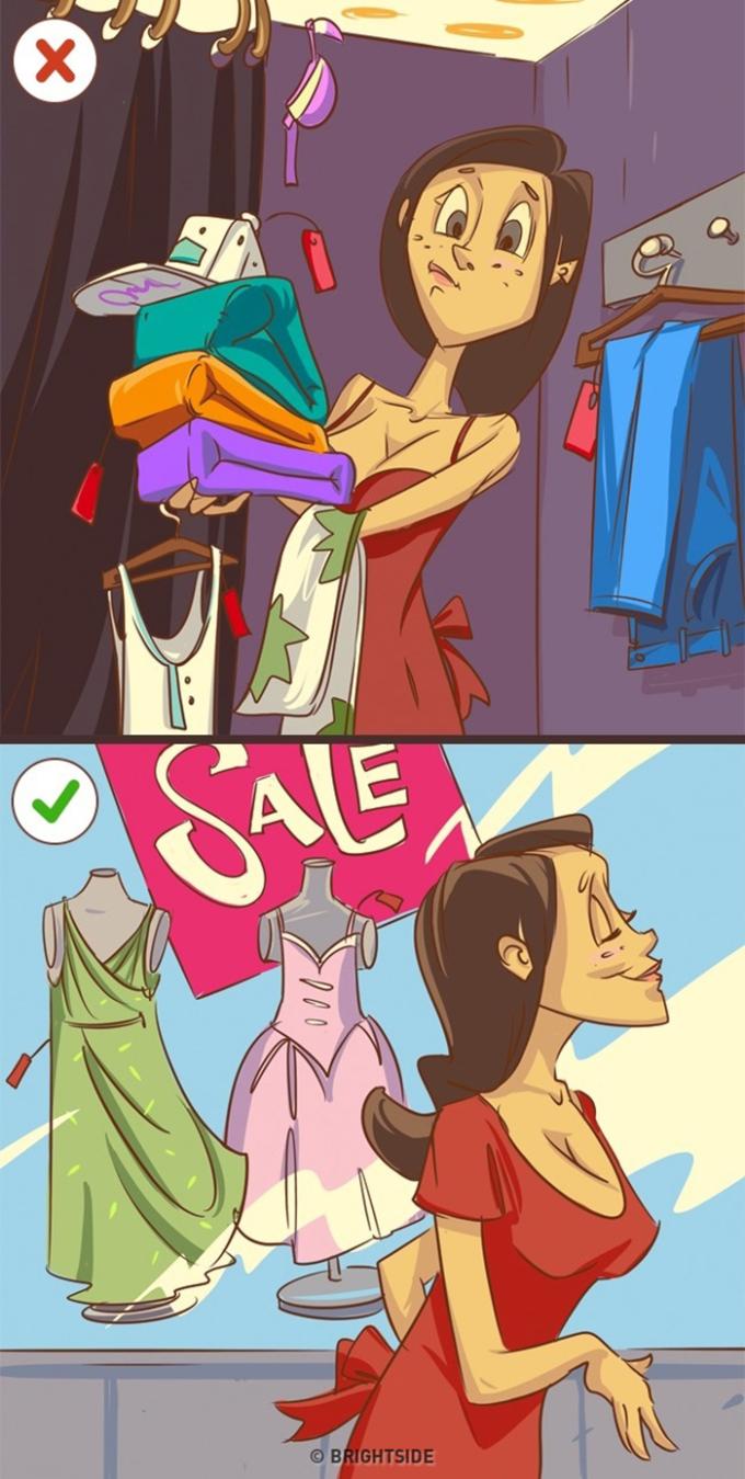 """<p> Học thói quen """"bơ đi mà sống"""" khi đi qua các cửa hiệu quần áo. Bạn chẳng bao giờ mặc hết những món đồ đã mua, nên đừng tham rẻ mà vác cả đống về. Chúng khiến bạn cạn tiền nhanh chóng.</p>"""