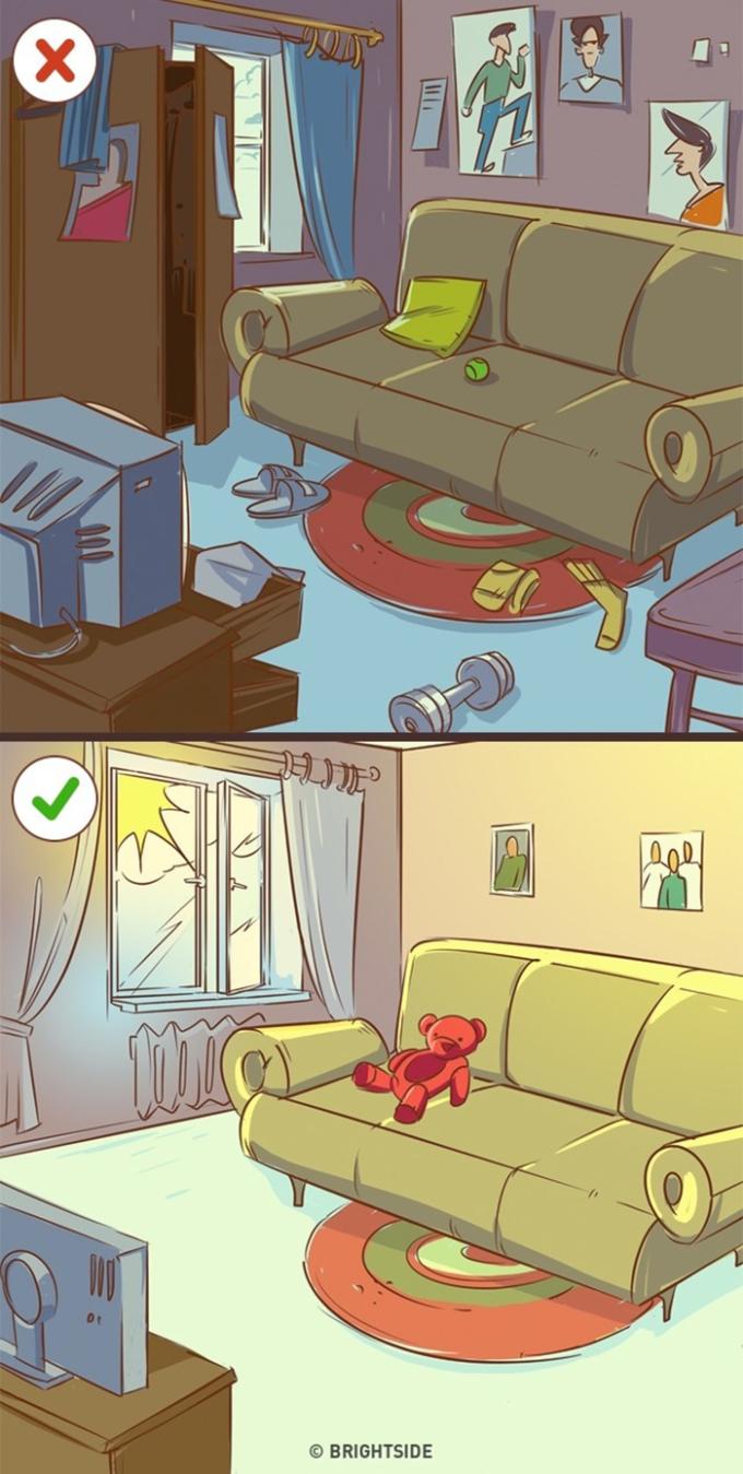 <p> Để tâm trạng và cuộc sống trở nên thoải mái, đừng quên dọn dẹp và để ánh nắng chiếu vào phòng. Tâm trạng của con người bị ảnh hưởng rất lớn bởi môi trường xung quanh.</p>