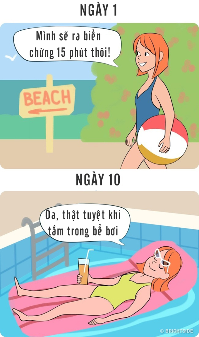 """<p> Họ lựa chọn đi biển để được nằm trên những bãi cát trải dài, nhưng cuối cùng lại """"phơi mình"""" ở bể bơi của khu resort.</p>"""