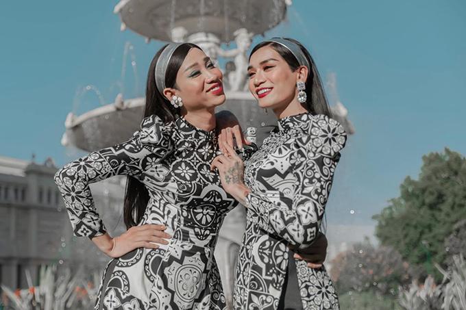 Hải Triều - BB Trần đọ dáng với áo dài.