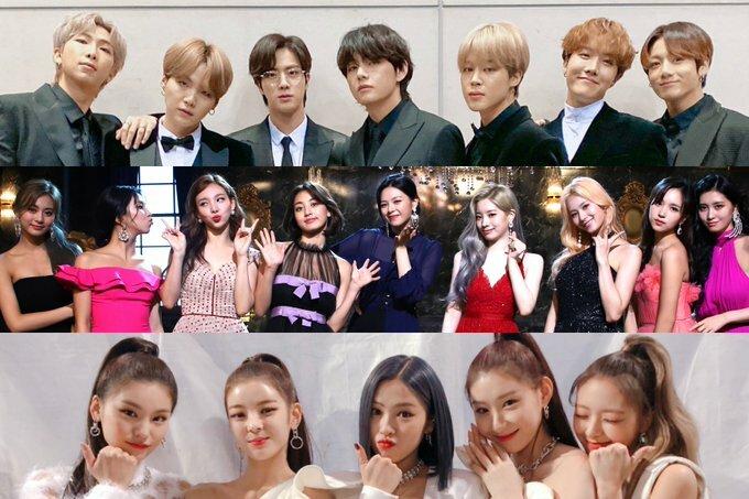 BTS, Twice và ITZY được nhắc đến khá nhiều trong các câu trả lời bình chọn của giới idol.
