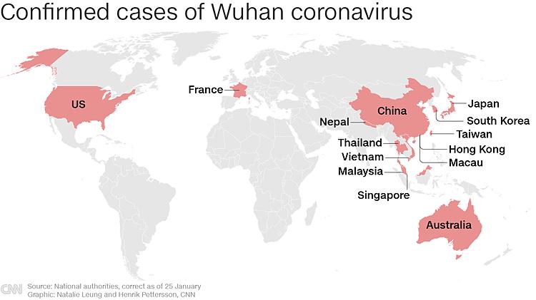 Các trường hợp phát hiện nhiễm virus corona Vũ Hán trên thế giới. Đồ họa: CNN.