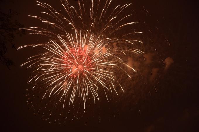 <p> Từng chùm pháo bung nở trên bầu trời khiến lòng người cũng nô nức theo. Ảnh: Giang Huy.</p>
