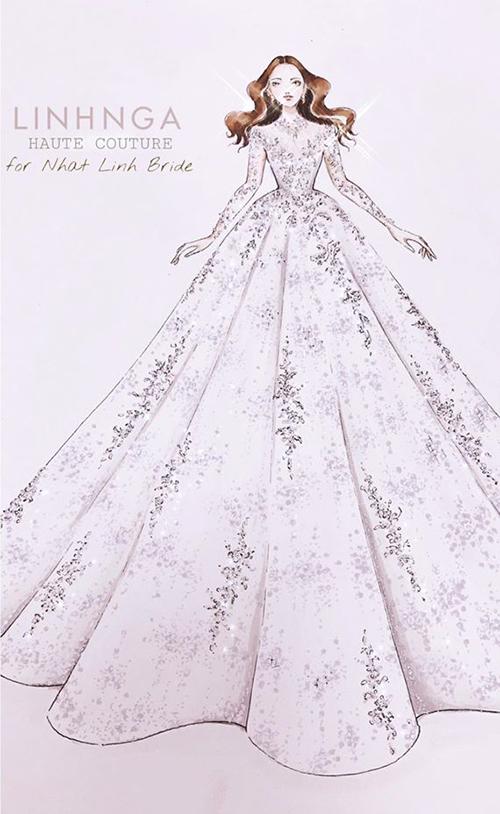 Bản vẽ bộ váy cưới giá có thể lên tới 600triệu đồng của bà xã Phan Văn Đức.