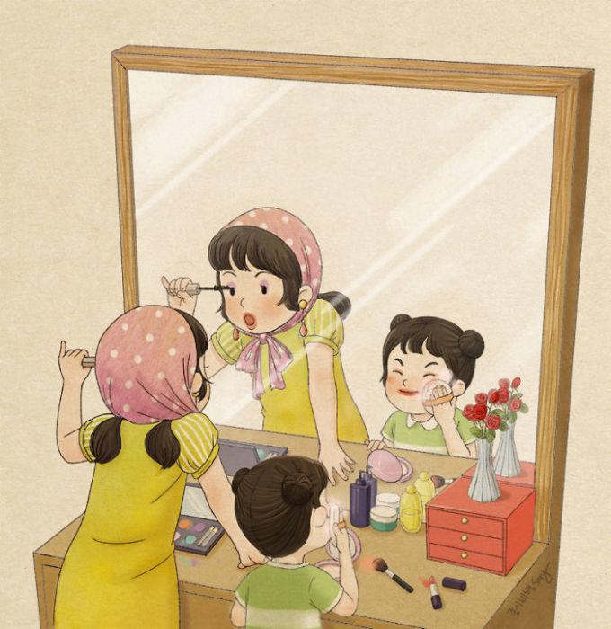 """<p> Chị hay nhắc nhở, dặn dò giống y hệt mẹ, nhưng nhiều lúc vẫn không quên làm những """"trò lố"""" cùng em khi bố mẹ vắng nhà.</p>"""