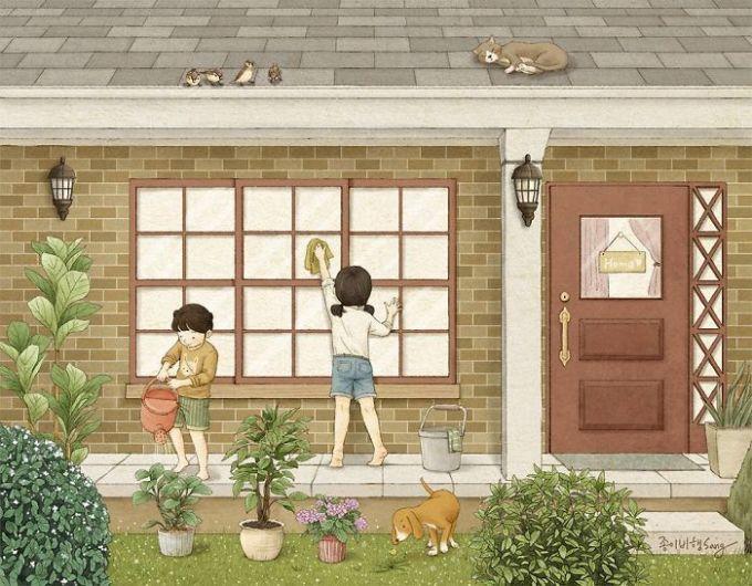 <p> Biết bố mẹ bận việc, chị dạy em cách lau nhà, dọn dẹp mỗi khi được nghỉ. Hai chị em cùng làm thì vui biết mấy.</p>