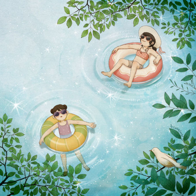 <p> ... hay hòa mình trong làn nước xanh mát...</p>