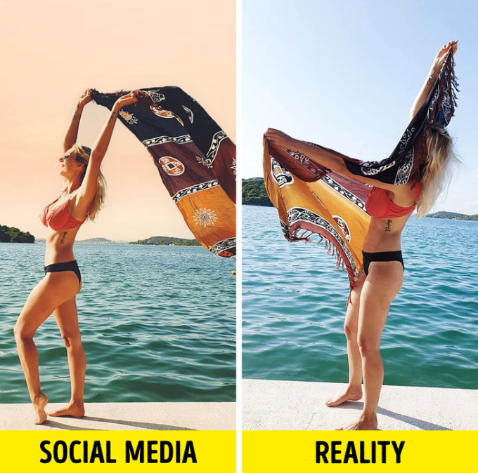 <p> Cùng là tạo dáng với khăn choàng, nhưng trên mạng xã hội và thực tế khác xa nhau.</p>