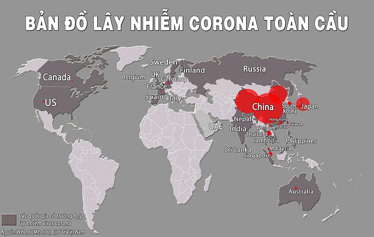 Bản đồ lây nhiễm virus corona trên toàn thế giới. Đồ họa: Thúy Quỳnh.