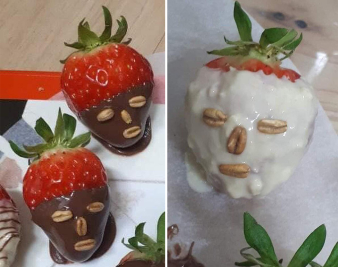 """<p> Bạn trổ tài nấu nướng theo các hướng dẫn trên mạng nhưng kết quả thật """"hú hồn"""". Không biết đây là dâu tây cho Valentine hay đêm Halloween?</p>"""