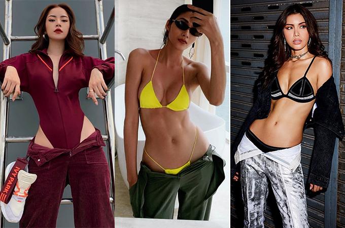 Mặc quần theo style nửa mặc nửa tụt như Hà Hồ là xu hướng đang được các sao Việt yêu thích gần đây. Bằng cách buông quần hững hờ, các người đẹp tôn được eo săn chắc, hông nở nang, rất thích hợp để kết hợp cùng bikini hay bodysuit. So với các đàn em, Hà Hồ không hề kém cạnh trong khoản đọ vóc dáng.