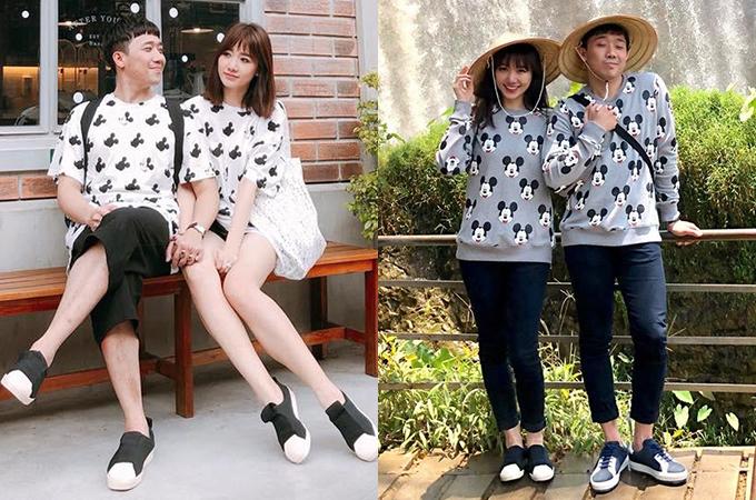 Cặp đôi trông trẻ trung hơn nhiều so với tuổi nhờ chăm khoác lên mình các trang phục xì tin, nhí nhảnh hết cỡ.