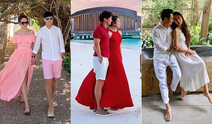 Bằng cách chọn một tông màu làm chủ đạo, Lý Hải - Minh Hà có thể thoải mái diện đồ theo phong cách riêng nhưng vẫn hòa hợp với nửa kia.