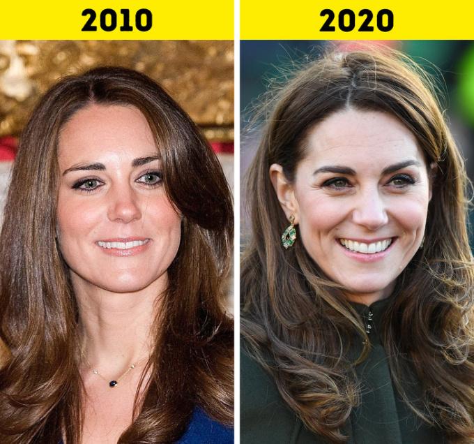 <p> <strong>6. Kate Middleton</strong></p> <p> Sau khi kết hôn với Hoàng tử William vào tháng 4/2011, Kate được phong danh hiệu Nữ công tước xứ Cambridge. Cô cống hiến hết mình cho các tổ chức từ thiện vì sức khỏe tinh thần, trẻ em, thể thao và nghệ thuật.</p> <p> Trong 10 năm, Kate sinh được 3 người con: Hoàng tử George (2013), Công chúa Charlotte (2015) và Hoàng tử Louis (2018).</p>