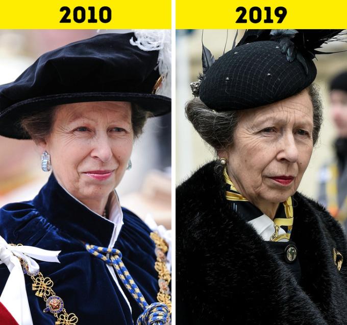 <p> <strong>9.Công chúa Anne</strong></p> <p> Công chúa Anne đảm nhận nhiều nhiệm vụ và nhiều lần tham gia sự kiện thay mẹ mình, Nữ hoàng Elizabeth II.Bà cũng thường xuyên đi công du nước ngoài và tham gia hơn 200 tổ chức từ thiện. Tháng 8 năm nay bà sẽ bước sang tuổi 70.</p>