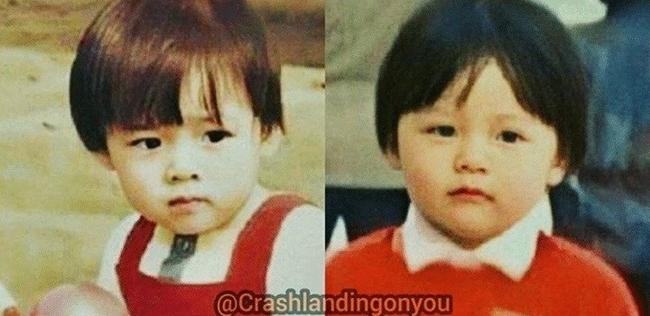 Ảnh thời bé của Son Ye Jin (phải) và Hyun Bin giống nhau đến ngỡ ngàng.