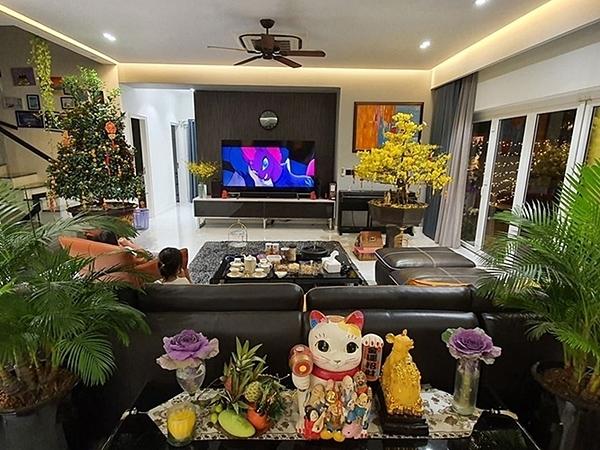 Hoa, cây cảnh được Vũ Thu Phương trang trí. Trong căn hộ ấm cúng, cô thường nấu ăn, tổ chức tiệc cho gia đình.