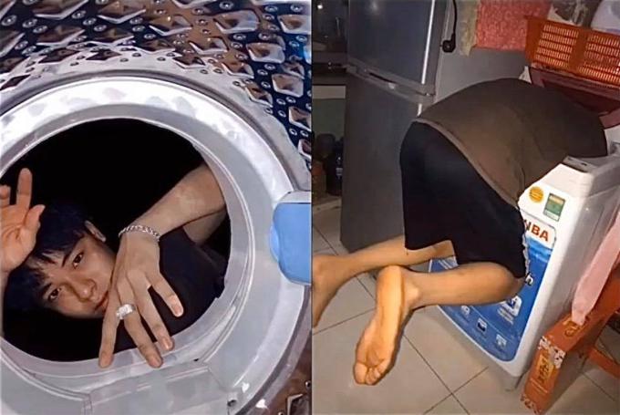 """<p> Khác với máy giặt cửa trước (thiết kế lồng ngang) cho phép người chụp có thể ngồi xuống đất rồi đưa vào người vào. Còn thiết kế lồng máy giặt đứng khiến bạn như bị """"nuốt chửng"""".</p>"""