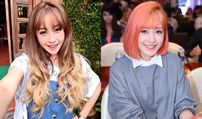 Trong sự nghiệp, người đẹp 27 tuổi đã có nhiều lần F5 diện mạo với tóc ombre, tóc cam, đỏ, hồng...