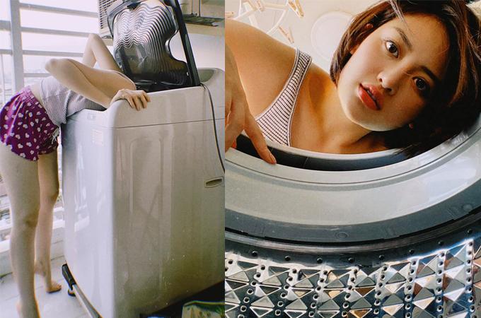 Thùy Anh tiết lộ hậu trường khó đỡ để có bức hình theo trend chụp hình trong máy giặt.