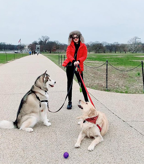 Bảo Thy dắt hai chú cún đi dạo ở Mỹ.