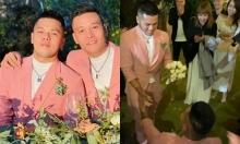Quân - Pu tình tứ bên nhau khi nhận hoa cưới của Tóc Tiên