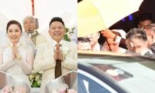 3 sao Việt dùng ô che chắn kỹ lưỡng trong lễ cưới