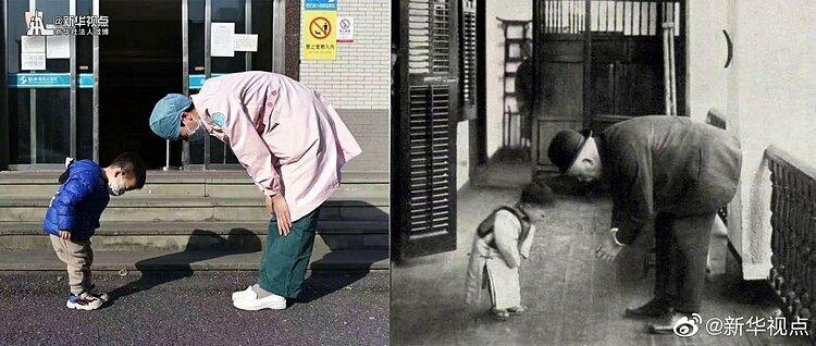 Khoảnh khắc tương tự với bức ảnh hơn 100 năm trước.