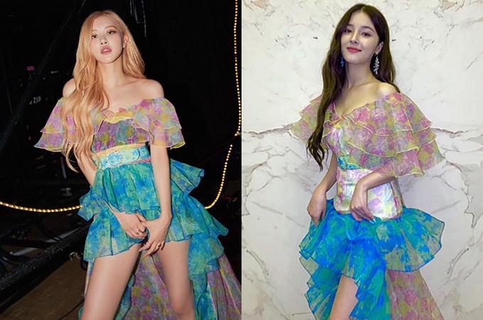 Dù mặc sau nhưng nhờ cách mix, biến tấu váy cao tay, Rosé nổi bật hơn hẳn Nancy.