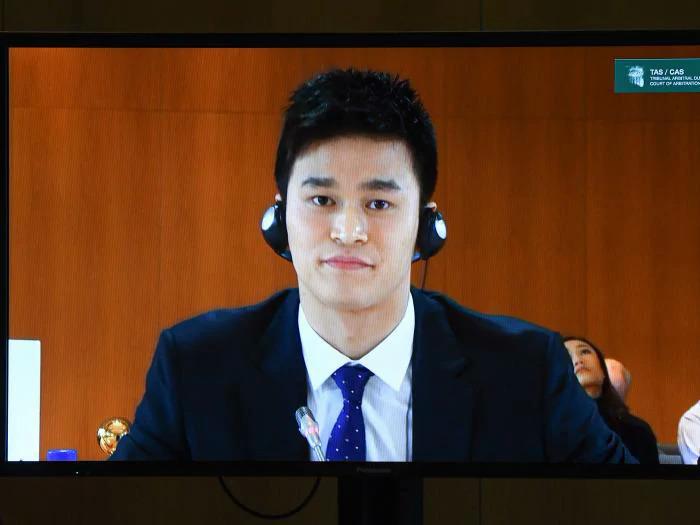 Sun Yang trong phiên một điều trần. Ảnh: AFP.